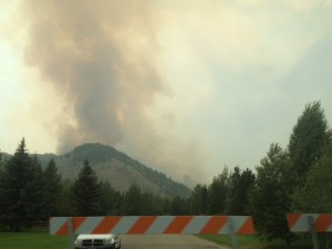 Evacuating Ketchum (taken from the back of the escape Jeep!)